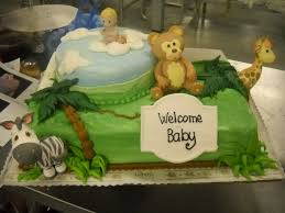 precious moments jungle theme baby shower cake with 3d animals
