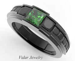 black wedding bands for men men s black gold emerald wedding band vidar jewelry unique