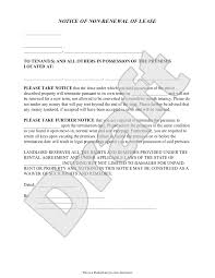 landlord u0027s notice of non renewal of lease to tenants with sample