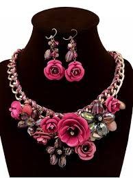 flower necklace set images 2018 faux crystal woven flower jewelry set in rose madder zaful jpg