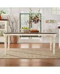 Spring Sales On Mackenzie Country Antique Twotone Dining Table By - Tribecca home mckay country antique white pedestal extending dining table