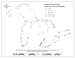 The Great Lakes Map Coastal Power Plants Gleam