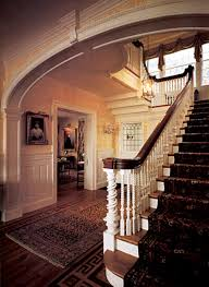 Banister Homes Blue And White Wall Interior Old Colonial Homes Has Iron Seat On