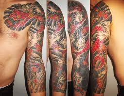 full sleeve japanese dragon tattoo design