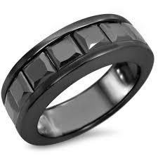 wedding bands in 4 1 3 ct tw black spinel men 039 s wedding band in 14k black