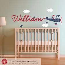 Nursery Airplane Decor Baby Boy Nursery Wall Decor With Airplane Name Decal Also