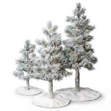 snowy alpine trees with fur skirts set of three trees