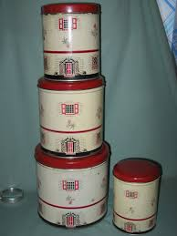 vintage tin metal kitchen canisters set of 4 matching canisters