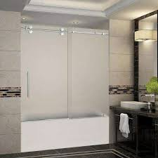 Trackless Bathtub Doors Tub Shower Doors Glass Frameless Remodeled Master Bathroom With