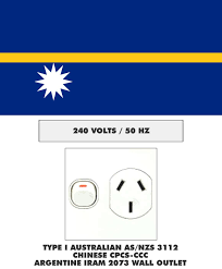 electrical plug outlet and voltage information for nauru