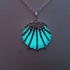 necklace pendant shell images Aqua glowing seashell necklace glow in the dark shell pendant jpg
