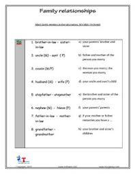 family and relationships english vocabulary printable worksheets