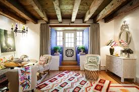 decor ceiling beams and window treatment with front entry door