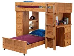 Bed Desk Combo Bedroom Cherry Finished Wooden Crossed Bunk Bed Which Is Having