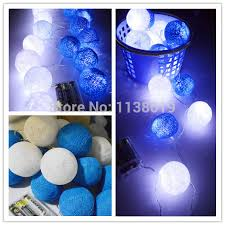 blue string lights for bedroom battery operated led 20pcs set led blue white cotton ball string