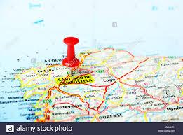 Camino De Santiago Map Santiago De Compostela Spain Map Travel Concept Stock Photo