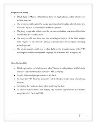 ms excel macros vba project report