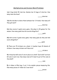 free multiplication word problems multiplication and division word problems by elzbells teaching