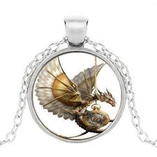 dragon glass pendant necklace images Vintage steampunk dragon glass pendant necklace dungeons and jpg