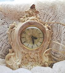 vintage white smooth shabby chic clock by westprairievintage on zibbet