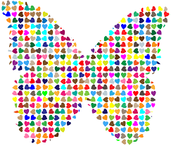 chaotic colorful hearts butterfly svg