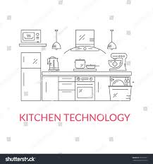 illustration modern kitchen different kitchen house stock vector