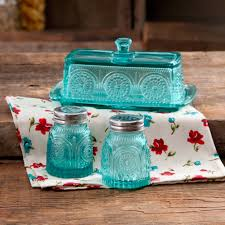 the pioneer adeline glass butter dish with salt and pepper