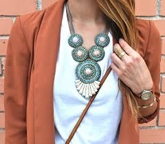 trendy necklace styles images 25 trendy ways to wear your statement necklace with a blazer jpeg