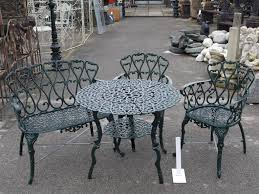 round cast iron table cast iron round table with shelf 2 chairs 1 bench iron table and
