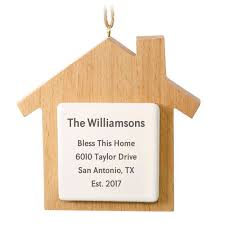 new home wooden personalized ornament text only personalized