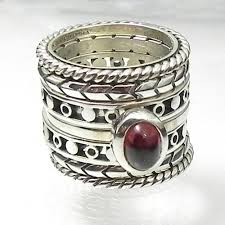 rings with stone images Set of six sterling stackable spacer rings plus one vertical
