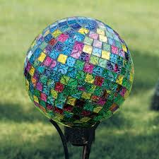 12 Inch Glass Gazing Balls Carson Home Accents 10 In Mosaic Jeweled Hues Gazing Ball