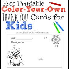 printable christmas cards for mom color your own printable thank you cards for kids thrifty little mom