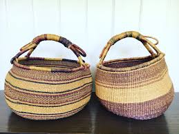 wicker basket with leather handles only 1 left vintage woven african market baskets with leather