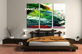 Green Bedroom Wall Art 3 Piece Canvas Green Abstract Oil Paintings Pictures
