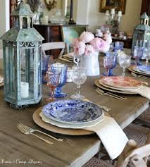 peonies and orange blossoms farmhouse patriotic table setting