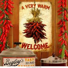 Welcome Home Decor A Very Warm Welcome Chili Bunch Steel Sign Vintage Home Decor 12 X