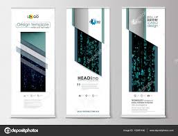 Stand Up Flag Banners Set Of Roll Up Banner Stands Flat Design Templates Geometric