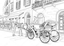 sketch of a carriage in the street u2014 stock vector tatiana54