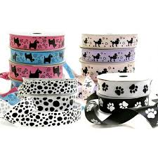 dog ribbon pet theme ribbon in paw print designs dog cat ribbon box and wrap