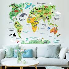 World Map Actual Size by Removable Animal World Map Wall Decal Art Sticker Kids Nursery