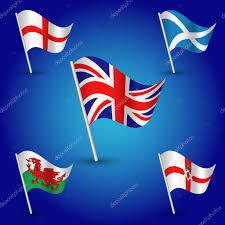 Scotland Flags Vector Waving Simple Triangle Set Flags United Kingdom Of Great