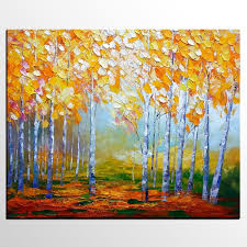 birch tree painting abstract landscape art living room wall art