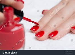 manicure beautiful manicured womans nails red stock photo