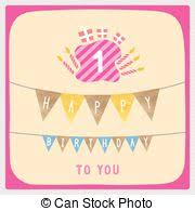 vectors illustration of happy first birthday greeting card for