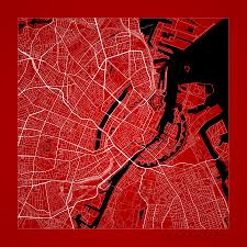 Copenhagen Map Copenhagen Street Map Copenhagen Denmark Road Map Art On Color