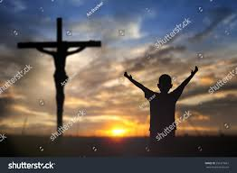 is thanksgiving a religious day silhouette man happy hands rise on stock photo 256371661