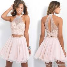 light pink graduation dresses blush pink high neck two piece homecoming dresses with pearls short