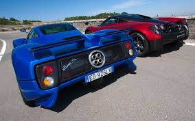 blue pagani zonda pagani zonda huayra pagani probe wyre supercars red blue rear view