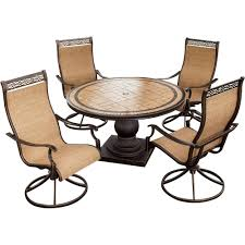 Sling Outdoor Chairs Monaco Monaco5pcsw 5 Piece Outdoor Dining Set 4 Sling Back Swivel